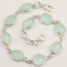 Fabulous Bracelet 925 Sterling Silver Jewelry Natural AQUA CHALCEDONY Gemstones #Unbranded #Chain