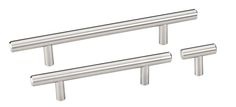 The Satin Nickel Finish Naples Series Decorative Cabinet Hardware Collection from the Elements Collection by Hardware Resources includes plated steel standard size and oversized pulls with a matching T knob. This series features an ultra modern look with round bar design with a beveled edge detail.