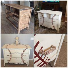 Niches for double room: 60 models and amazing ideas! Baseball Dresser, Baseball Furniture, Baseball Nursery, Baseball Bed, Baseball Crafts, Baseball Shirts, Baby Boy Rooms, Baby Boy Nurseries, Baby Room