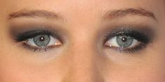 Jennifer Lawrence. Smoky eye example on hooded eyes and eye brow shape