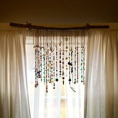 The bohemian suncatcher has three different widths, 35 inches, 30 inches, and 15 inches. The 35 inch one includes 20 strands of beads. The 30 inch