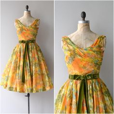 """Newly listed • 1950s October Sunset dress • xs"""