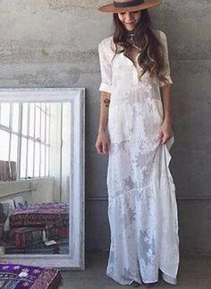 BOHO Slit Side Lace White Chiffon Maxi Dress | BOHO Slit Side Lace White Chiffon Maxi Dress Waistline: NaturalStyle: Bo | Primary View | Sassy Posh