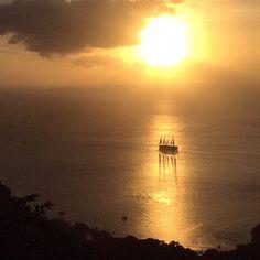 Sailing off into a captivating Caribbean sunset.