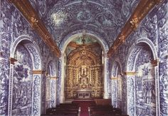 Portugal+Algarve+Church+of+Almancil+Sao+Lourenco+Interior+by+Grufnik. Faro Portugal, Visit Portugal, Spain And Portugal, Portugal Travel, Spain Travel, Portugal Trip, Albufeira Portugal, Algarve, Portuguese Tiles