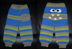Knitted Monster Pants Pattern Is Super Cute Crochet Baby Pants, Crochet Wool, Crochet Bebe, Free Crochet, Knit Pants, Baby Sweater Knitting Pattern, Baby Knitting Patterns, Baby Patterns, Crochet Patterns