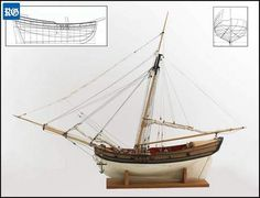 Model of Bermuda sloop by marine artist Deryk Foster, based on lines published by Frederick Henrik Chapman in 1775 (inserts) in his famous treatise on shipbuilding, 'Architectura Navalis Mercatoria'.