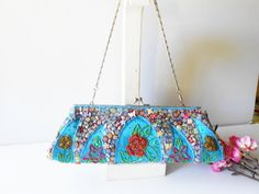 Turquoise Evening Bag Vintage Turquoise by LittleBitsofGlamour