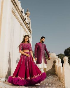 Groom wear a sherwani and bride wear a chaniya-choli for the photography. Couple Wedding Dress, Wedding Dresses Men Indian, Wedding Couples, Wedding Shoot, Wedding Goals, Wedding Updo, Wedding Photoshoot, Indian Dresses, Indian Outfits