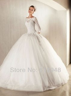 2013 New Design Free Shipping Custom Made Princess Ball Gown Luxury Popular Lace Wedding Dresses with Sleeves CM0104 $139.00