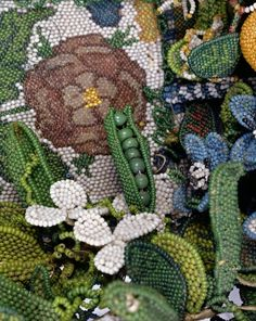 Pea-pod, life-size detail from a Beadwork Basket, English, 17th century (glass beads on metal threads) (see also 59129) Location     Fitzw...