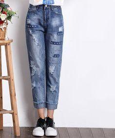 649bee9e8 Loving this Light Blue Patchwork Crop Jeans on #zulily! #zulilyfinds Calças  Corsário,