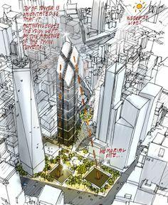 Upper View Perspective of Sky Scrapers