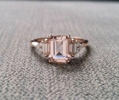 Antique Peach Pink Morganite Diamond Engagement Ring Emerald