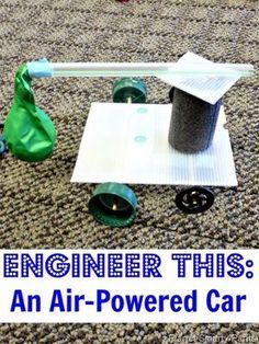 STEM challenge for kids - desing and build an air-powered car