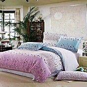 4 peças 100% algodão lindo estampado floral duvet conjunto de capa de vida