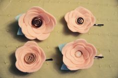 Felt flowers - adorable in hair, clipped to sweaters, scarves, pinned to headbands & hats, or attached to purses or anything really.