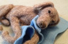 Needle felted Weimaraner by Karen Norton Designs on Facebook and Etsy