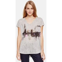 Two by Vince Camuto London Graphic Burnout V-Neck Tee ($49) ❤ liked on Polyvore