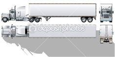 Vector hi-detallada comercial semi-truck — Vector de stock #6815691