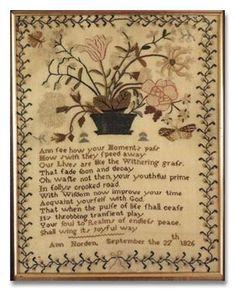 Jane Bostock- 1826 antique sampler