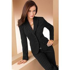 Dress for success for work or the interview… Women's Pinstripe Business Suit. Dress for success for work or the interview. Business Outfits, Business Attire, Office Outfits, Business Fashion, Business Women, Business Lady, Office Wardrobe, Business Formal, Office Wear
