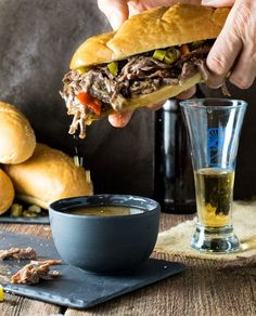 These Crock Pot Italian Beef Sandwiches are done right, Chicago style! Each tender sandwich is infused with Italian seasonings and served on a hoagie dripping with juice and loaded with crunchy giardiniera! Italian Beef Sandwiches Chicago, Chicago Italian Beef, Italian Roast Beef, Italian Beef Recipes, Italian Chicken, Italian Sandwiches, Vegan Sandwiches, Italian Foods, Italian Dishes