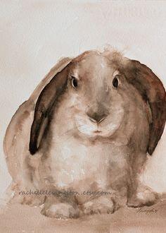Brown BUNNY PRINT Bunny art print art girls room Rabbit print bunny painting 5x7 sepia cream Bunny Nursery Art Print Nursery Room Decor. $12.00, via Etsy.
