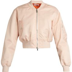 Givenchy Cropped twill bomber jacket ($1,722) ❤ liked on Polyvore featuring outerwear, jackets, light pink, pink jacket, cropped jacket, padded bomber jacket, givenchy and pocket jacket