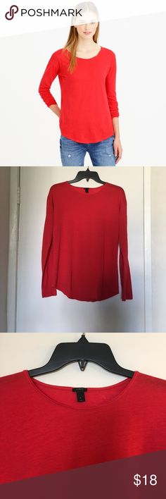 J. Crew Long Sleeve Tee Size Small 55% linen, 45% cotton. Made from a light blend of linen and cotton with a slim fit and drop shoulders, this T-shirt is an elevated take on everything else in your T-shirt drawer. NO TRADES/PAYPAL. J. Crew Tops Tees - Long Sleeve