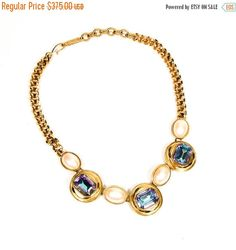 ON SALE YSL Pearl Rhinestone Necklace Aurora by VintageMeetModern