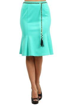 High Waisted Flared A-Line Knee Length Skirt