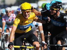 Team Sky | Pro Cycling | Photo Gallery | Tour stage 20 gallery | Wiggins celebrates his win as he crosses the line with Mick Rogers
