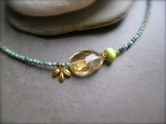 African Turquoise and Citrine Necklace - Summer Petit Jewelry.  via Etsy.