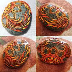 Fire stone!  Before sealant and after.  Love the marbling effect in this paint.  #kamloopshenna #firestone #stone #rock #decor #orange #yellow #hennabeedesigns #rockpainting #stonedecor #globalrockpainters #hennainspired #hennadesign #oceanrock #painting #acrylic #loveyourart #kamloops