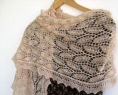 knitted leaf pattern | This lace scarf will go great with your wedding dress as well as with ...