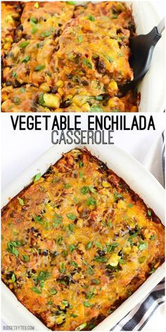 A colorful vegetable mix, homemade enchilada sauce, corn tortillas, and cheese make this Vegetable Enchilada Casserole the epitome of comfort food. @budgetbytes