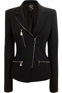 A black jacket doesn't have to be boring. This one features a slanted zipper closure and three decorative metal zippers.. DIY the look yourself: http://mjtrends.com/pins.php?name=zippers-for-jacket_1