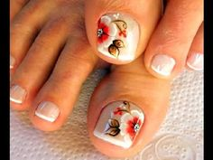 Unhas Decoradas Passo a Passo com Flores para Natal (nail art tutorial) | Cola na Villar - YouTube Manicure, Mani Pedi, Toe Nail Art, Toe Nails, Toe Nail Designs, Nails Design, Pretty Toes, Nail Art Galleries, White Nails