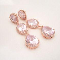 Rose Gold Bridal earrings Crystal Wedding earrings by treasures570, $60.00
