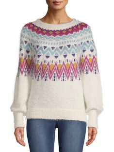 Time and Tru - Time and Tru Fair Isle Sweater Womens - Walmart.com