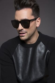 Dan Levy, sporting his own design of sunglasses....ALL very cool and groovy.  Check it out.    DLEyewear.com