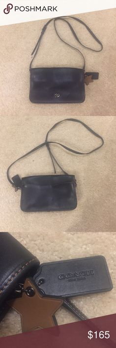 Coach black Crossbody Bag Like new, very lightly used, 9 by 5.5 inches by 2 inches, brown stitching, strap drops down 23 inches but is adjustable Coach Bags Crossbody Bags