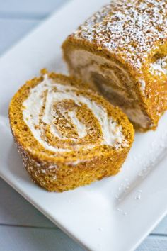 Making it Milk-free: Pumpkin Roll Cake with Whipped Cinnamon Cream Cheese Filling {dairy + gluten free} Pumpkin Cream Cheese Bars, Cinnamon Cream Cheeses, Cream Cheese Filling, Dairy Free Deserts, Dairy Free Recipes, Vegan Recipes, Pumpkin Roll Cake, Pumpkin Dessert, Gluten Free Pumpkin