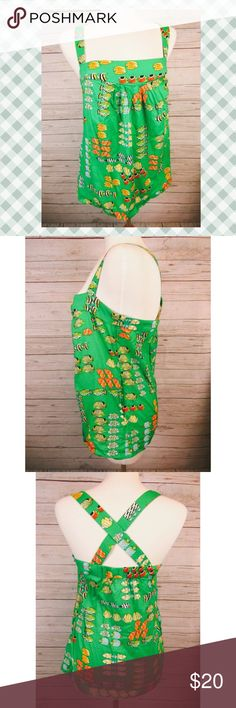 """J. Crew Fish Top Adj Criss-Cross Straps Sz 8 Brand:  J.Crew Style:  Casual camisole, adjustable straps, pockets Size:   8 Color/Pattern:  Green/Fish Material:   100% Cotton Measurements:   -Shoulder to hem:  27"""" -Across under arm:  18"""" Garment Care:    Machine wash cold Condition: No rips, tears, or stains. J. Crew Tops Blouses"""