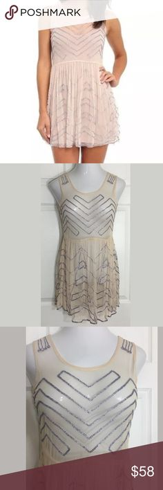 "Free People Soft Peach•Beaded•Sheer•Mesh•Dress Stunning soft peach short dress with silver beads. Bust: 34""; Length in the back from the shoulder: 31"". Smoke free home. Thanks for shopping my closet 🌺! Free People Dresses Mini"