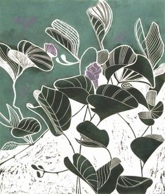 Simple beauty: Creeper by Tessa Charles Linocut print Textile Prints, Art Prints, Block Prints, Illustration Art, Illustrations, Motif Floral, Expo, Wood Engraving, Painting & Drawing