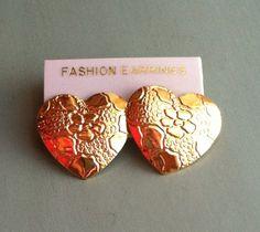 Vintage Gold Heart Earrings by MatildaMarie on Etsy, $3.00