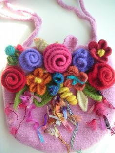 floral felted bag