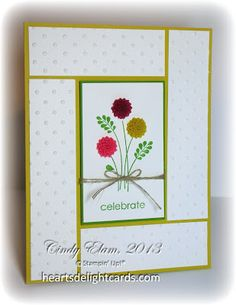 handmade card ... like the layout design ... frames the center panel ... evokes a quilt design ..